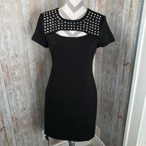 Michael Kors sz 8 black studded open bust dress